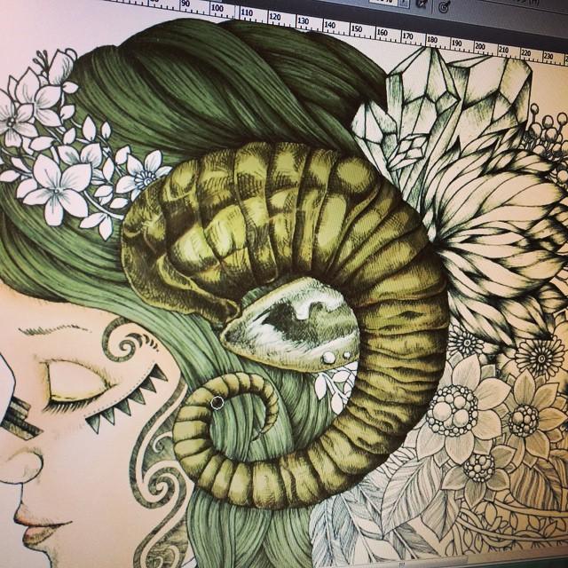 In progress. #illust #instart #instacool #instadraw #instagood #instadaily #illustrator #instadoodle #illustration #art #artist #artistic #artistlife #girl #sheep #color #floral #flower #zia #bloom #botanical