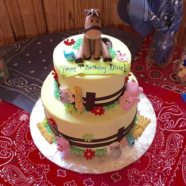 By Bluecakecompany Farm Animal Themed Birthday Cake Happy Dixie