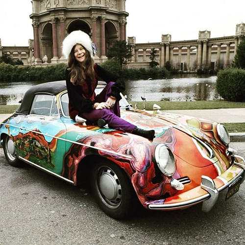 Now time for some color. The queen of psychedelic soul, Janis Joplin with her 1965 @porsche Type #356C that and it's hallucinatory paint scheme. (via @vanityfair). Photo by Jim Marshall Photography, LLC. #rocknroll #classiccars | by cccmanhattan