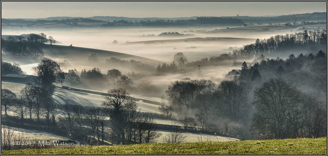 Early morning mist in the Barle river Valley