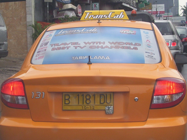 A Taxi with Satellite TV   Added Value at its best.   Flickr