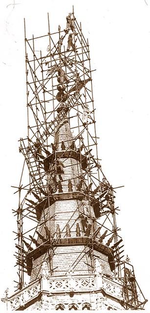 Restauración de la torre de la Catedral en 1951. Fondo Rodríguez. (c) JCCM. Archivo Provincial