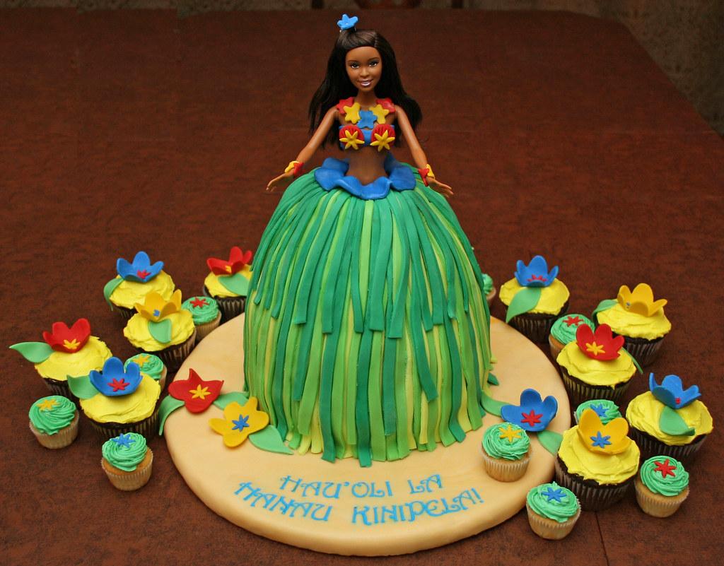Strange Hula Barbie Birthday Cake A Hula Girl Birthday Cake For A Flickr Funny Birthday Cards Online Benoljebrpdamsfinfo