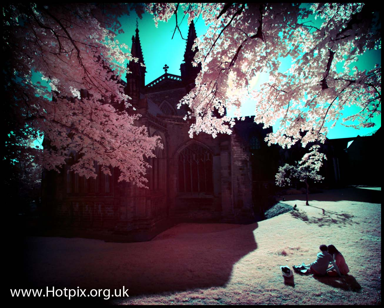 Chester,cheshire,cheshit,west,uk,england,tony,smith,tonysmith,hotpix,church,garden,cathedral,cathedrals,infra,red,infrared,IR,720nm,72R,R72,Hoya,false,color,colour,falsecolour,falsecolor,Europe,lover,lovers,kiss,kissing,couple,secret,picnic,graveyard