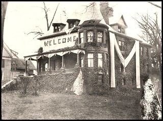 Sigma Alpha Epsilon fraternity, decorated for the homecoming game against Iowa, November 22, 1924.