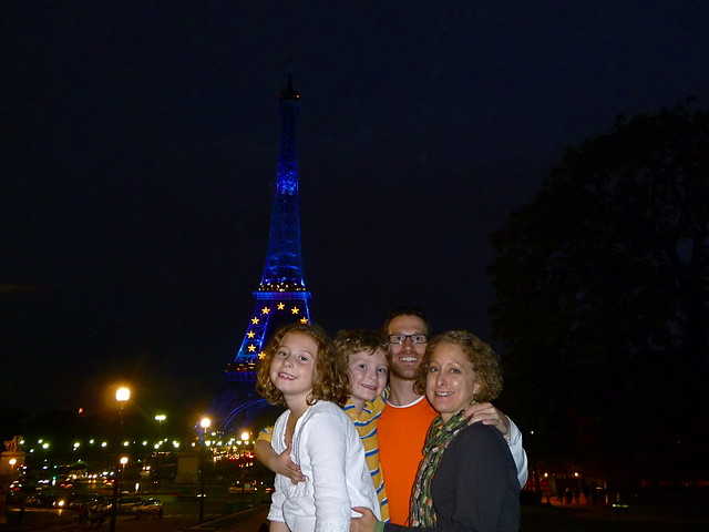 Family night at the Eiffel Tower