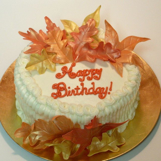 Tremendous Autumn Leaves Birthday Cake Scratch Baked Carrot Cake With Flickr Funny Birthday Cards Online Unhofree Goldxyz