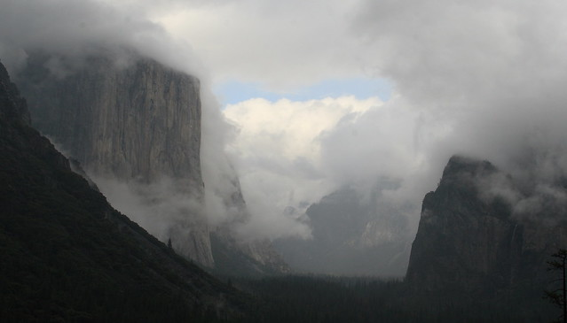Storm clouds clearing in Yosemite Valley, from Tunnel View