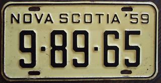 NOVA SCOTIA 1959 license plate