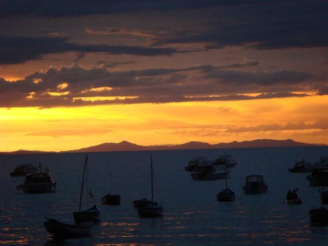Sunset over Copacabana town, Bolivia.