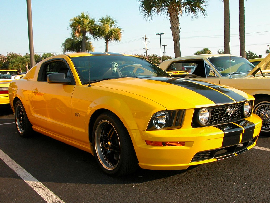 Yellow mustang gt with black stripes by char1iej