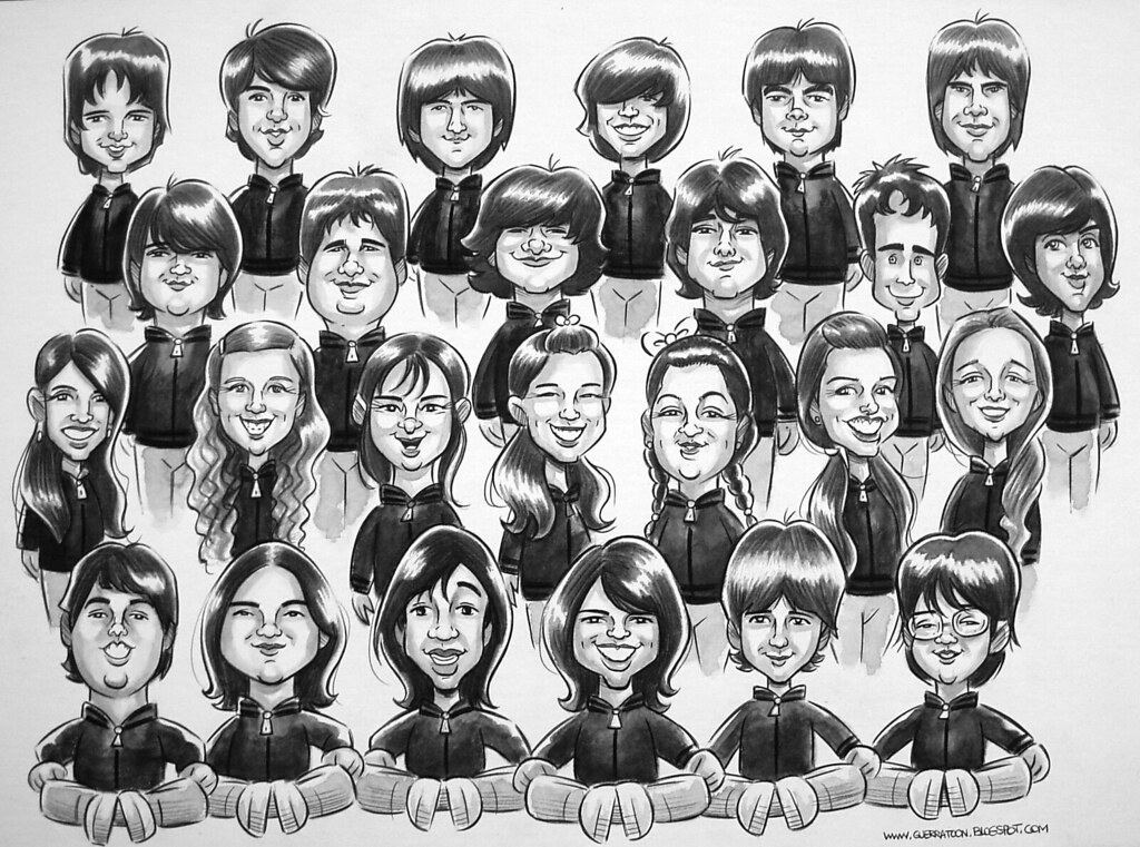 www.marceloguerra.com.ar / MARCELO GUERRA CARICATURISTA / Caricatura grupal / CARICATURAS EN FIESTAS