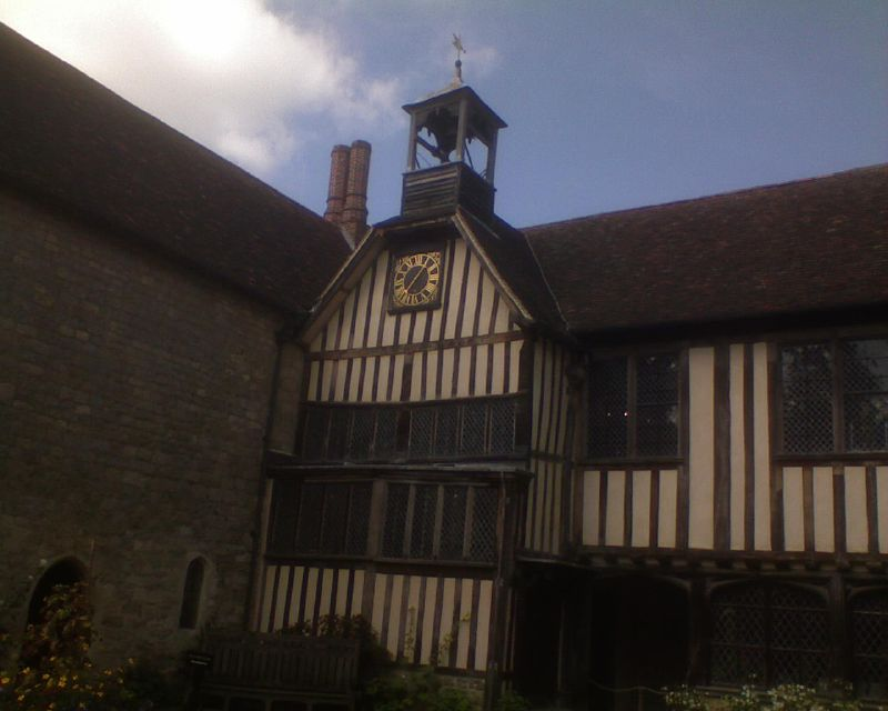 Central courtyard - clock Inside Ightham Mote: Open Heritage Day Sevenoaks Circular