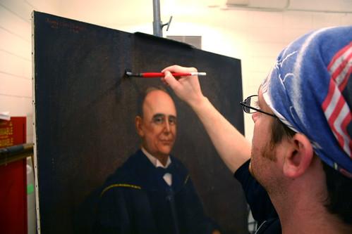 Thomas working on restoring Bondurant Portrait