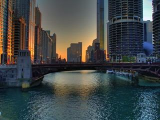 Chicago River Sunset - HDR | by mdesisto