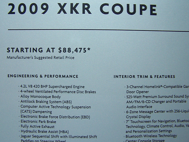 Jaguar XKR sticker price