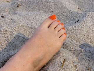 Orange Toes In The Sand | by Joe Shlabotnik