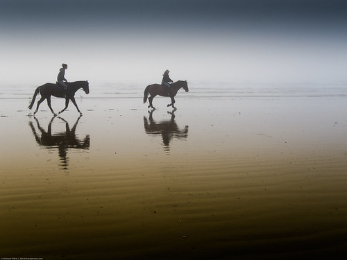 Two equestrian riders, girls on horseback, in low tide reflections on serene Morro Strand State Beach | by mikebaird