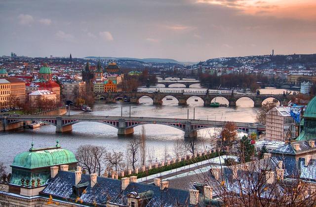 A few Snow flakes in Prague - Bridges