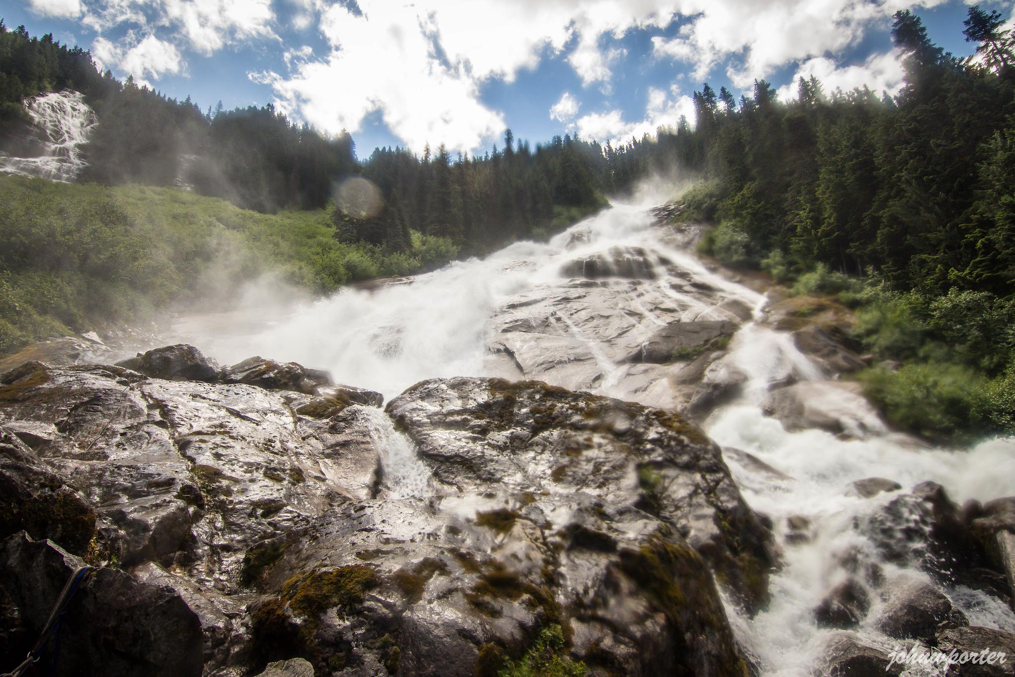 Depot Creek Falls pouring down