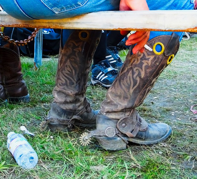 The Boots of a Working Cowboy at The Richer Rough Stock Rodeo in Richer, Manitoba