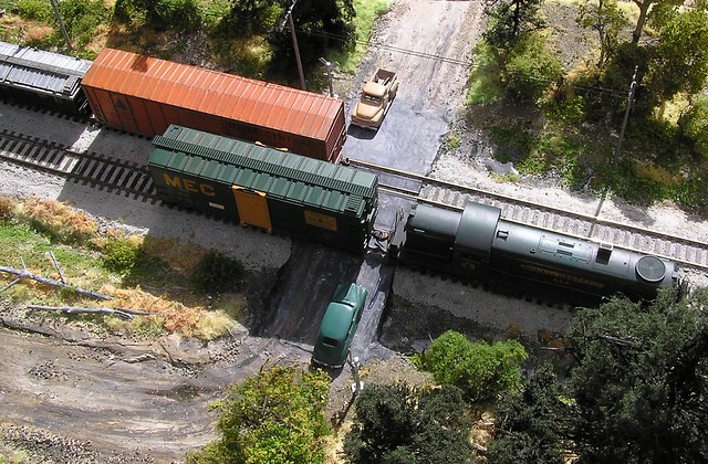 Overhead view of the diorama - HO scale