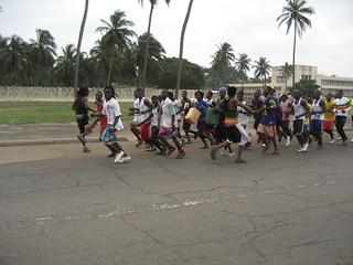 Running to the Ghana border   by Wayan Vota