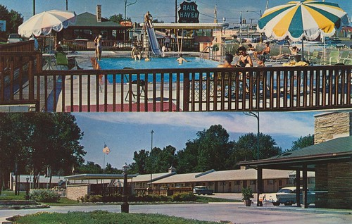 umbrella vintage route66 postcard motel slide missouri springfield bestwestern aaa poolview splitview railhaven