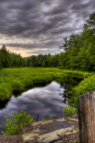 wood trees sunset summer sky storm green water june brewing reflections nikon stream niceshot decay newengland nh drain trail marsh nikkor stillness hdr 1870mm mtvernon purgatory tonemapped d7000 beechhillrd