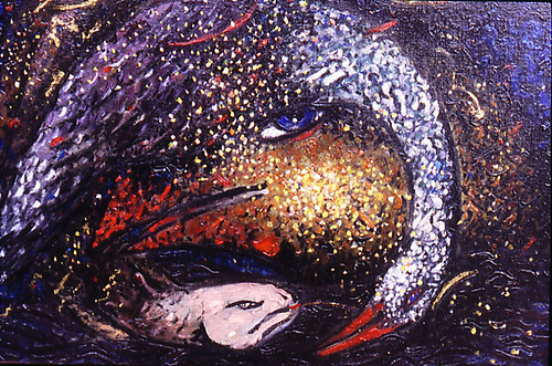 Pact between the swan and the moon 720 pdi oil painting 1992.