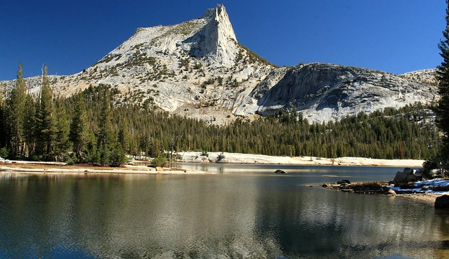 Cathedral Peak from the far end of Cathedral Lake