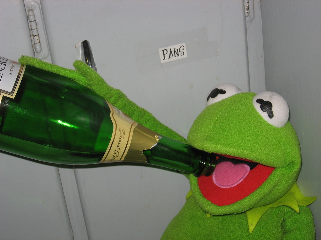 Kermit Drinking He Just Downed That Chickowski Flickr