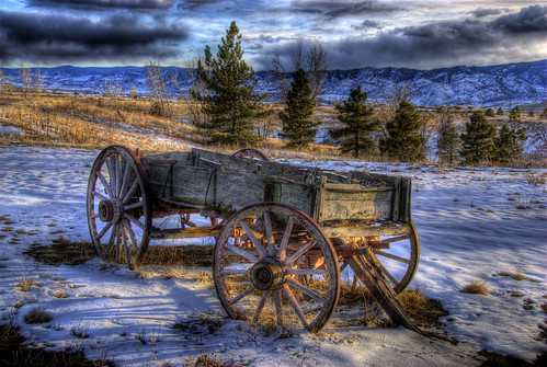 statepark wood old trees winter light sunlight lake snow clouds wagon landscape colorado shadows wheels denver historic chatfield hdr littleton photomatix anawesomeshot 200803