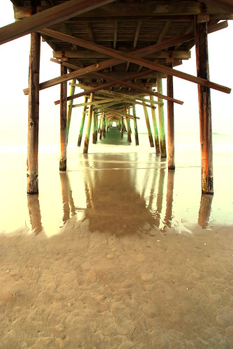 ocean reflection beach sunrise pier sand long exposure waves northcarolina atlanticbeach fujis5