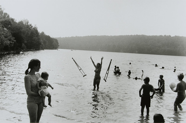 Lake in Catskill Mountains, 1971 (Woman throws Crutches)