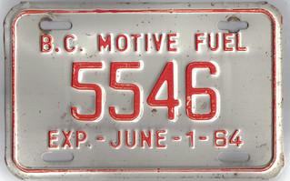 BRITISH COLUMBIA 1964 MOTIVE FUEL plate
