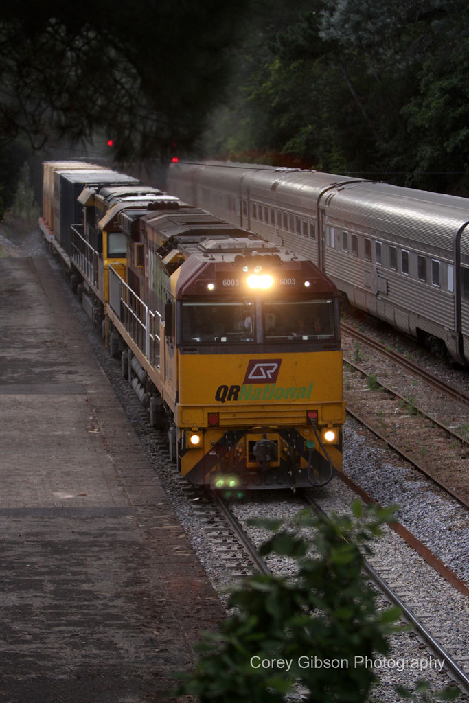 6003 passes the Southern Spirit at Mt Lofty by Corey Gibson