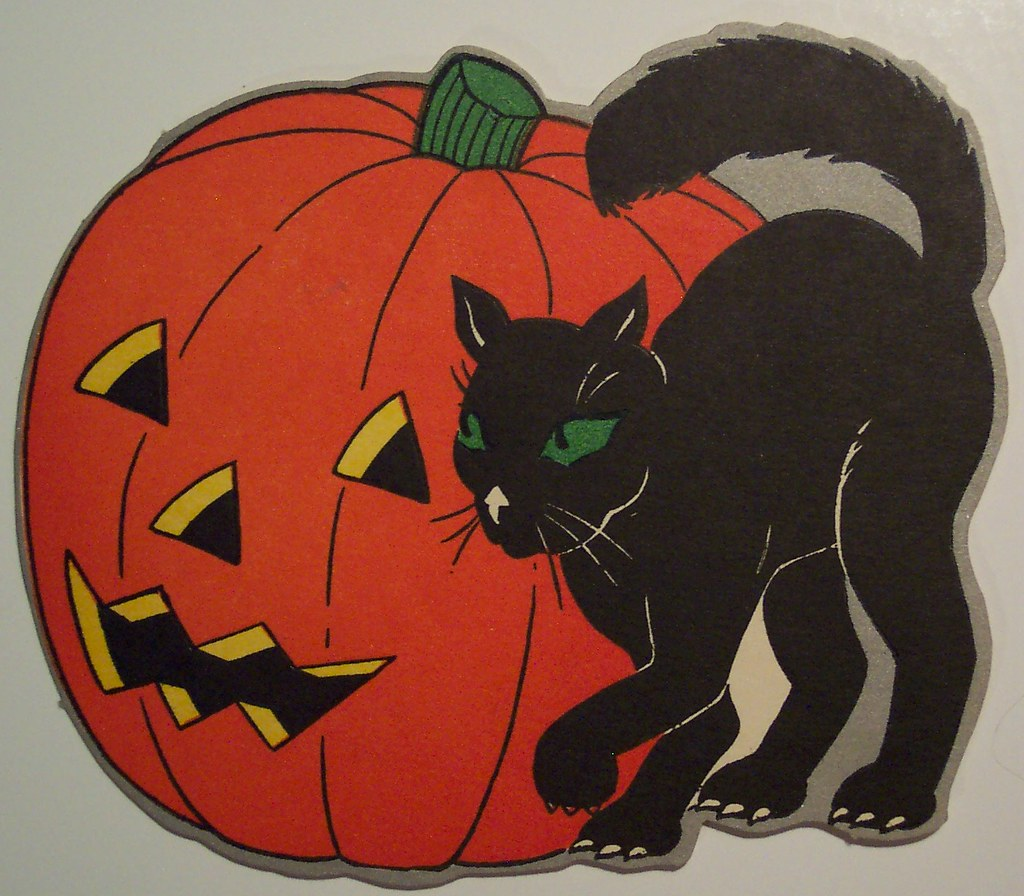 Vintage Halloween Cut Out, Cat And Jack O Lantern | Dave ...