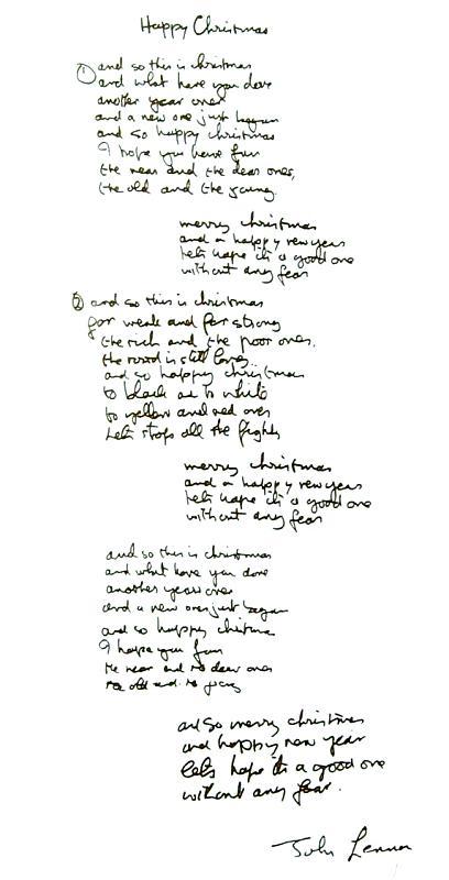 Happy Xmas Lyrics Yoko Ono Flickr