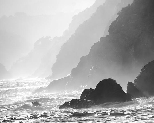 Waves breaking onto the rocks near Vernazza, Italy