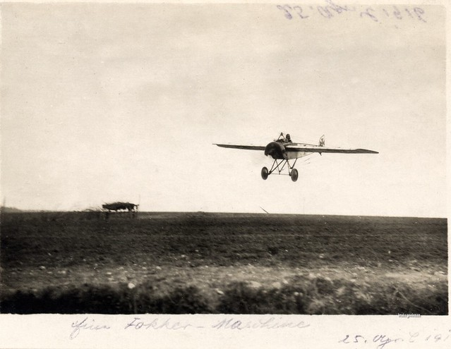 A Pfalz E.I prepares to land, April 1916