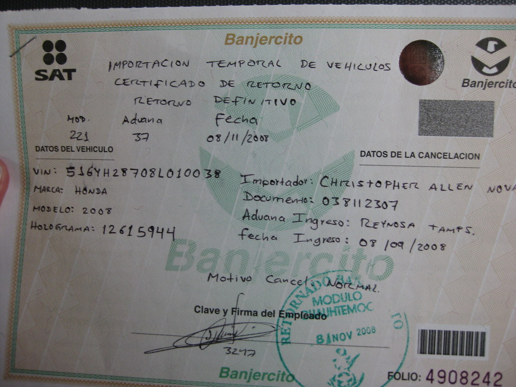 Mexican Vehicle Import Cancellation Reciept | Exiting Mexico… | Flickr