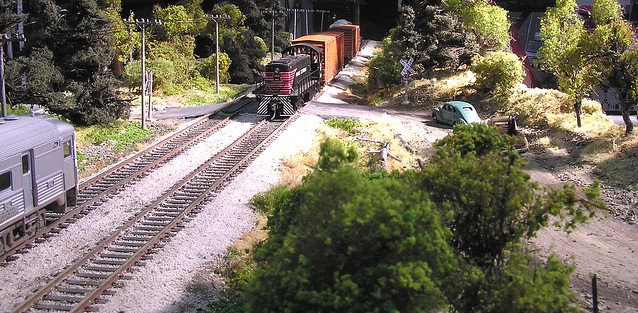 HO scale diorama with mirror