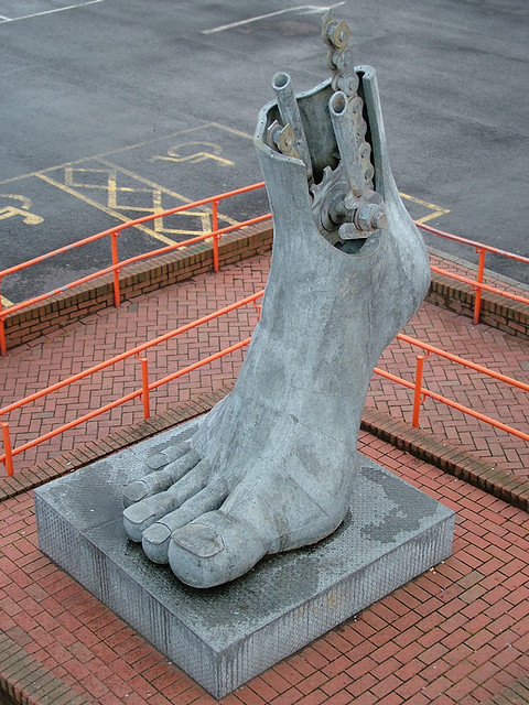 'Footplate', from the pedestrian bridge, Flint railway station, North Wales, UK
