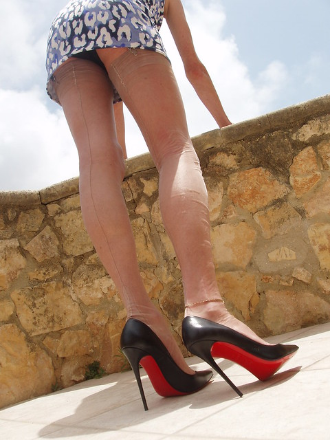 summer dress and louboutins,