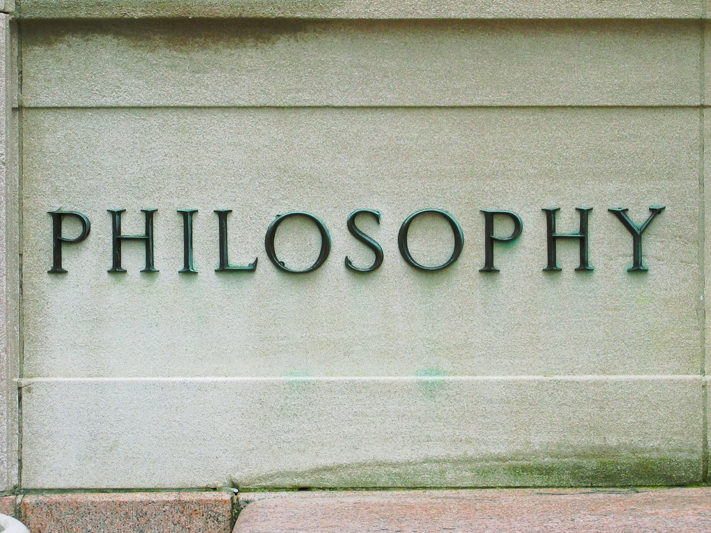 stone sign reading PHILOSOPHY