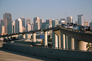 Traffic stopped, Call box, downtown San Francisco Freeway, California, USA | by Wonderlane