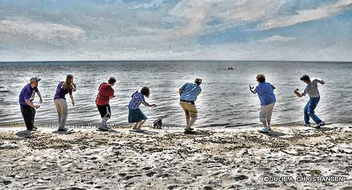 friends people water sand lakemichigan stoneskippers