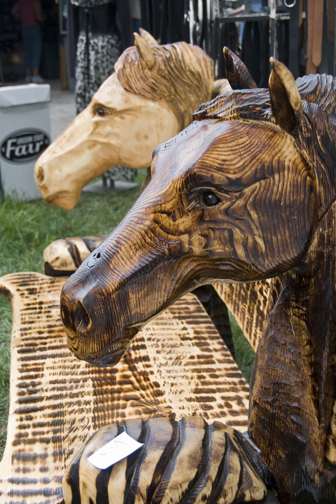 Chainsaw carved horse head bench pat kight flickr