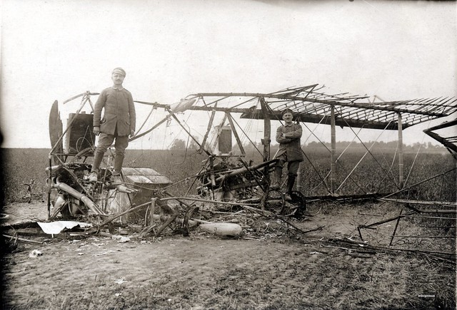 German soldiers pose amid the remains of a French 3 seat Letord 5 twin engine reconnaissance bomber